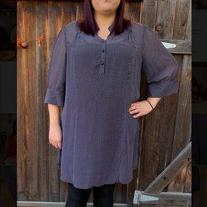 Lane Bryant plus size black polka dots sheer tunic